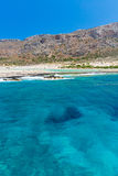 Balos beach. View from Gramvousa Island, Crete in Greece. Magical turquoise waters, lagoons, beaches of pure white sand Stock Photos