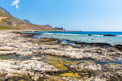 Balos beach. View from Gramvousa Island, Crete in Greece. Magical turquoise waters, lagoons, beaches of pure white sand Royalty Free Stock Photos
