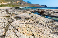 Balos beach. View from Gramvousa Island, Crete in Greece. Magical turquoise waters, lagoons, beaches of pure white sand Royalty Free Stock Photo