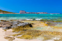 Balos beach. View from Gramvousa Island, Crete in Greece. Magical turquoise waters, lagoons, beaches of pure white sand Royalty Free Stock Image