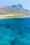 Balos beach. View from Gramvousa Island, Crete in Greece. Magical turquoise waters, lagoons, beaches of pure white sand Royalty Free Stock Images