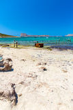 Balos beach. View from Gramvousa Island, Crete in Greece.Magical turquoise waters, lagoons, beaches Stock Photos