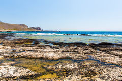 Balos beach. View from Gramvousa Island, Crete in Greece.Magical turquoise waters, lagoons, beaches. Of pure white sand Royalty Free Stock Image