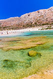 Balos beach. View from Gramvousa Island, Crete in Greece.Magical turquoise waters, lagoons, beaches Stock Image