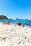 Balos beach. View from Gramvousa Island, Crete in Greece.Magical turquoise waters, lagoons, beaches. Of pure white sand Royalty Free Stock Images