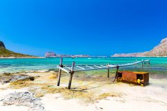 Balos beach. View from Gramvousa Island, Crete in Greece.Magical turquoise waters, lagoons, beaches Royalty Free Stock Photography