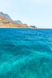 Balos beach. View from Gramvousa Island, Crete in Greece.Magical turquoise waters, lagoons, beaches Royalty Free Stock Photo