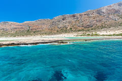 Balos beach. View from Gramvousa Island, Crete in Greece.Magical turquoise waters, lagoons, beaches. Of pure white sand Stock Photo