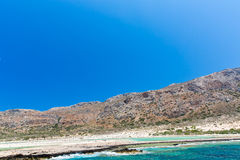 Balos beach. View from Gramvousa Island, Crete in Greece.Magical turquoise waters, lagoons, beaches Royalty Free Stock Images