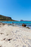 Balos beach. View from Gramvousa Island, Crete in Greece.Magical turquoise waters, lagoons, beaches of pure white sand. Royalty Free Stock Photos