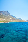 Balos beach. View from Gramvousa Island, Crete in Greece.Magical turquoise waters, lagoons, beaches of pure white sand. Stock Image