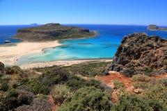 BALOS-FJÄRD, KRETA: Gramvousa halvö i den västra delen av Kreta Royaltyfri Fotografi
