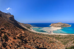 Balos Lagoon and Gramvousa Island in Hania, Crete. Panoramic view of the most beautiful beach of the Crete - Balos lagoon Royalty Free Stock Photo