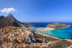 Balos Lagoon and Gramvousa Island in Hania, Crete. Royalty Free Stock Images