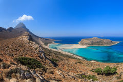 Balos Lagoon and Gramvousa Island in Hania, Crete. Panoramic view of the most beautiful beach of the Crete - Balos lagoon Stock Photo