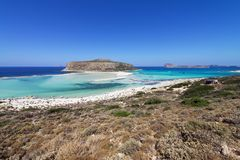 Balos lagoon: a paradise beach with crystal clear water and white sand on Crete island, Greece. Balos lagoon, a paradise and relaxing beach with crystal clear stock photo