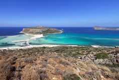 Balos lagoon, a paradise and relaxing beach with crystal clear water and white sand on Crete island, Greece. Balos lagoon, a paradise and relaxing beach with royalty free stock photo