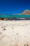 Balos Plaża Widok od Gramvousa wyspy, Crete w Greece Magiczny turkus nawadnia, laguny, plaże czysty biały piasek obrazy royalty free