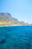 Balos Plaża Widok od Gramvousa wyspy, Crete w Greece Magiczny turkus nawadnia, laguny, plaże czysty biały piasek obraz stock