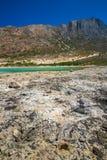 Balos Plaża Widok od Gramvousa wyspy, Crete w Greece Magiczny turkus nawadnia, laguny, plaże czysty biały piasek fotografia royalty free