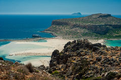 Balos plaża, Grecja, Crete Widok od wzgórza nad zatoka Zdjęcia Royalty Free