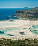 Balos plaża, Grecja, Crete Widok od wzgórza nad zatoka Obraz Stock