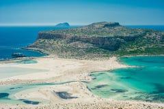 Balos plaża, Grecja, Crete Widok od wzgórza nad zatoka Obrazy Stock