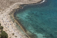 Balos strand på den Gramvousa ön Arkivfoton