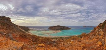 Balos strand på halvön Gramvoussa, Kreta Arkivfoton