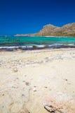Balos strand Sikt från den Gramvousa ön, Kreta i Greece Magiskt turkosvatten, lagun, stränder av ren vit sand Royaltyfri Foto