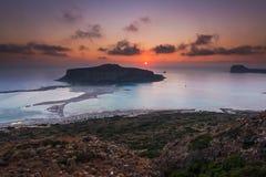 Balos-Strandlagune in Kreta bei Sonnenuntergang Lizenzfreie Stockfotografie