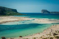 Balos wyrzucać na brzeg, Grecja Crete, widok od plaży Żółty piasek i Zdjęcia Royalty Free
