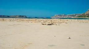 Balos wyrzucać na brzeg, Grecja Crete, widok od plaży Żółty piasek i Zdjęcie Stock