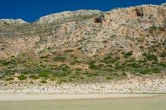 Balos wyrzucać na brzeg, Grecja Crete, widok od plaży Droga na wzgórzu Obraz Stock
