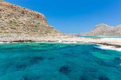 Balosstrand. Mening van Gramvousa-Eiland, Kreta in de turkooise wateren van Greece.Magical, lagunes, stranden royalty-vrije stock foto