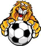 balowa śliczna szczęśliwa lwa maskotki piłka nożna royalty ilustracja