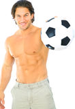 balowa sprawności fizycznej mienia mężczyzna piłka nożna Zdjęcie Stock