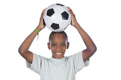 balowej chłopiec trzymający piłki nożnej zdjęcie stock