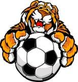 balowy śliczny szczęśliwy maskotki piłki nożnej tygrys ilustracja wektor