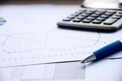 balowy kalkulatora dokumentów pióro Fotografia Royalty Free