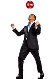 balowy kuglarski jeden biznesu mężczyzna bawić się piłka nożna Zdjęcia Royalty Free
