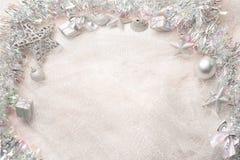 balowych bożych narodzeń dekoracj nowy faborku s srebny płatka śniegu rok Zdjęcia Stock