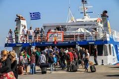Balsa grega no porto Imagem de Stock Royalty Free
