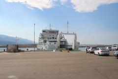 Balsa no porto de Stinica Console de Rab, Croatia Imagem de Stock Royalty Free