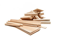 Balsa Wood. Various sizes of wood pieces for arts and crafts on white background Royalty Free Stock Image