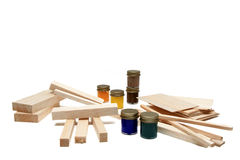 Balsa Wood and Paints Royalty Free Stock Photos