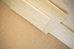 Balsa wood veneer. Balsa wood panel veneer close up Royalty Free Stock Image