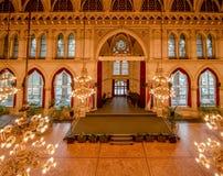 Balsal i det Wien stadshuset, Österrike Fotografering för Bildbyråer