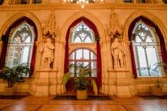 Balsal i det Wien stadshuset, Österrike Arkivbilder
