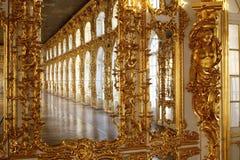 Balsal på den Tsarskoye Selo Pushkin slotten Royaltyfri Fotografi